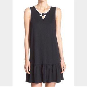 Kate Spade black and white bow drop waist dress